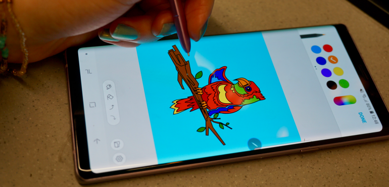 Samsung Galaxy Note 9 S Pen stylus penup colouring hero size