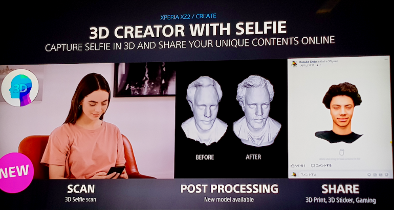 Sony Xperia XZ2 3D selfie scanning