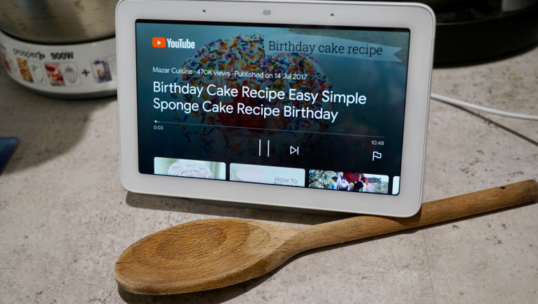 Google Home Hub YouTube recipe video