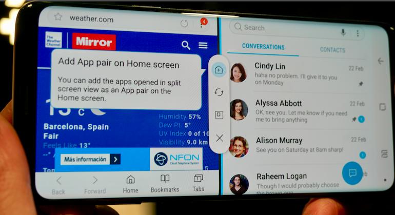 Samsung Galaxy S9 split screen