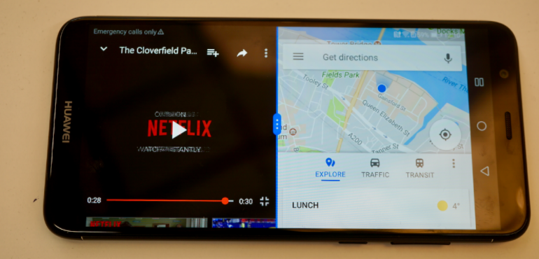 Huawei P smart split screen Netflix and Google Maps